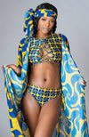 African Print High Cut Underwear Lace Side Swimsuit Bottom - Martina