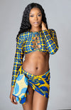 African Print Long-sleeved Criss-cross Crop Top Swimsuit - Martina