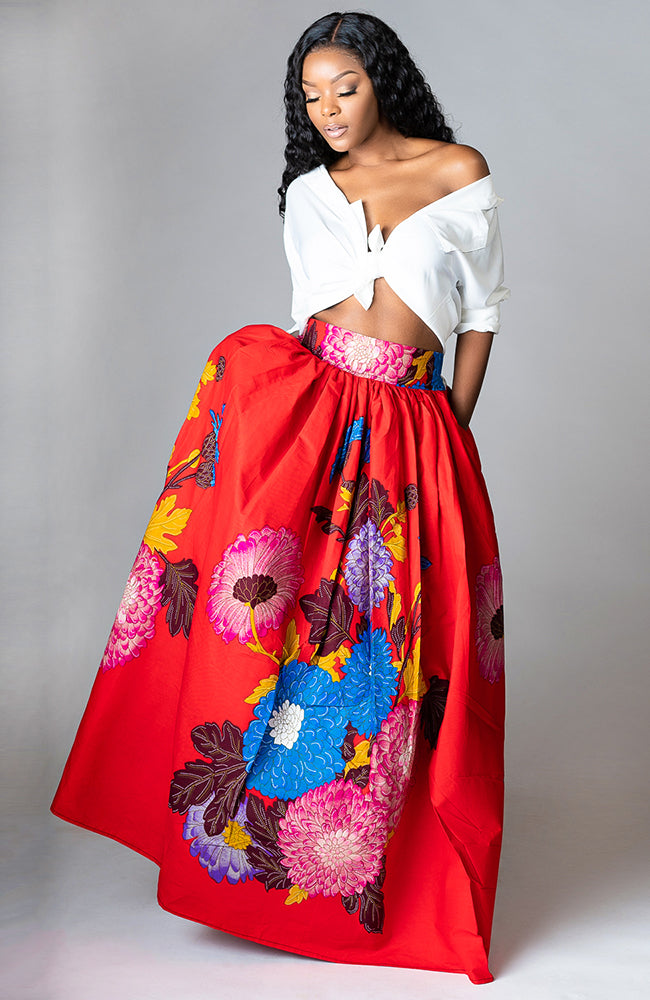 Red African Print Floral Long Skirt Ankara Women Outfit Maxi Skirt & Scarf - Paloma