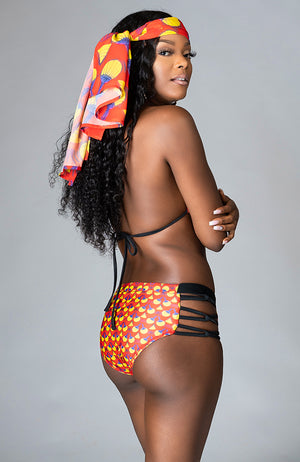 African Print High Waist Crisscross Side Underwear Brief Swimwear - Sirena