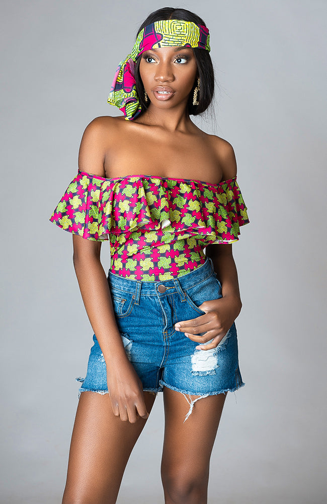 Ankara Off Shoulder Ruffled Top African Print Bodysuit One piece - Tianna