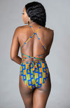 Kente African Print Top One Piece Lace Up Bodysuit - Marianna