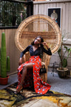 African Print Maxi skirt with Side Split & Pockets - AMANDA