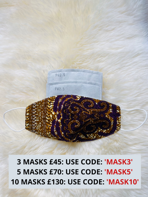 Unisex African Print Face Mask With Filter Pocket | JESSA