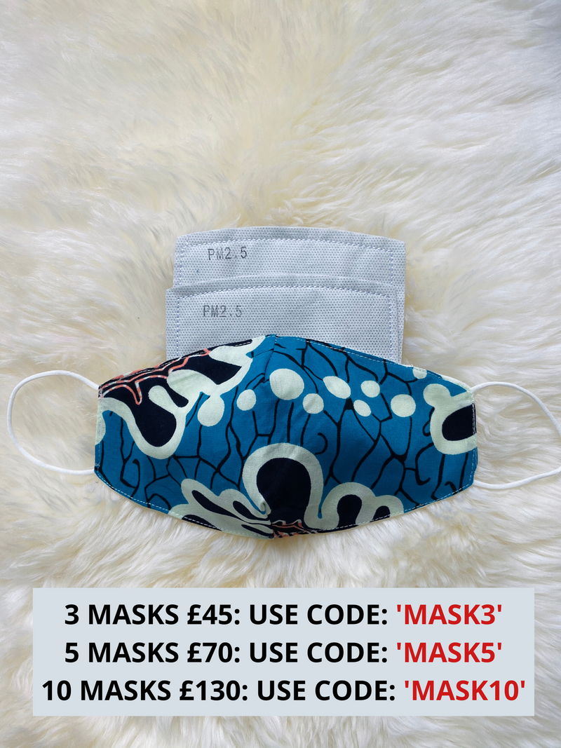 African Wax Print Face Masks | Fabric Face Mask with Filter Pocket | GEMMA