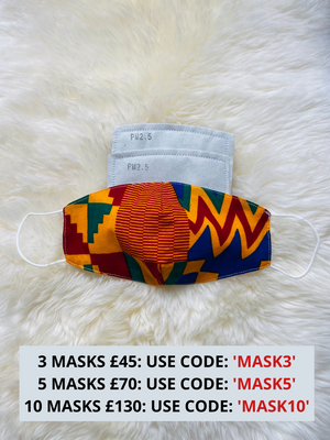 Unisex African Print Face Mask With Filter Pocket | LOLA