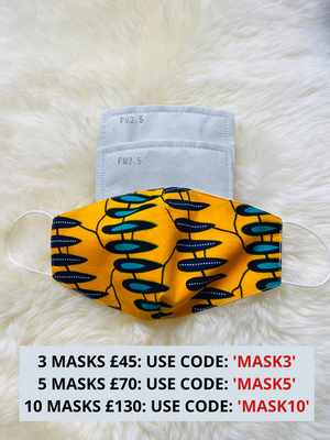 African Print Face Mask With Filter Pocket | YESHA