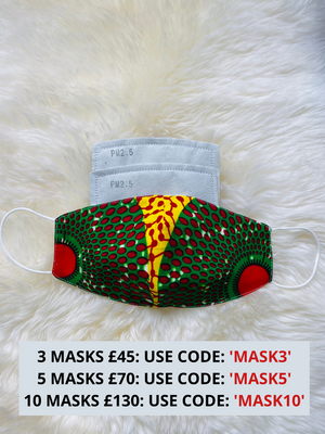 Ankara African Print Face Masks | LAVIYE Face Mask with Filter Pocket | CLAUDIA