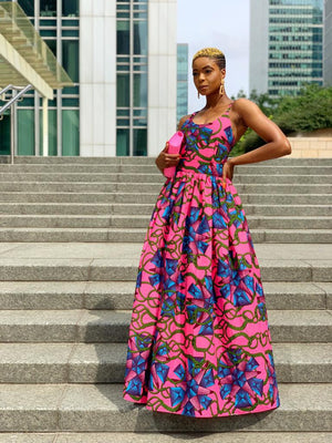 African Wax Print Sexy Lace Up Back Maxi Dress - Dana