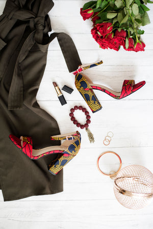 African Print Ankara Block Heel Sandal and Purse Set - CORDELIA