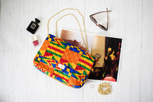 African Print Handbag Multicoloured Kente Quilted Twist Lock Shoulder Handbag LOLA
