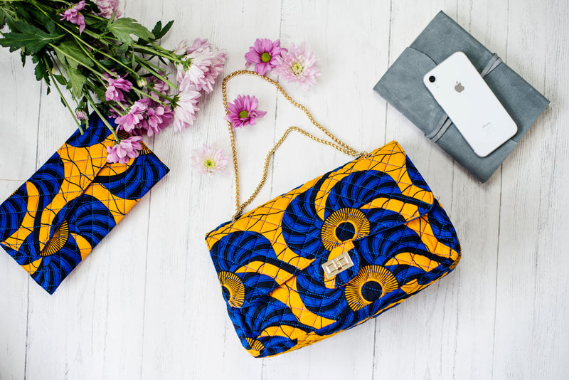 African Print Handbag Yellow Blue Quilted Twist Lock Ankara Shoulder bag CAROLINA