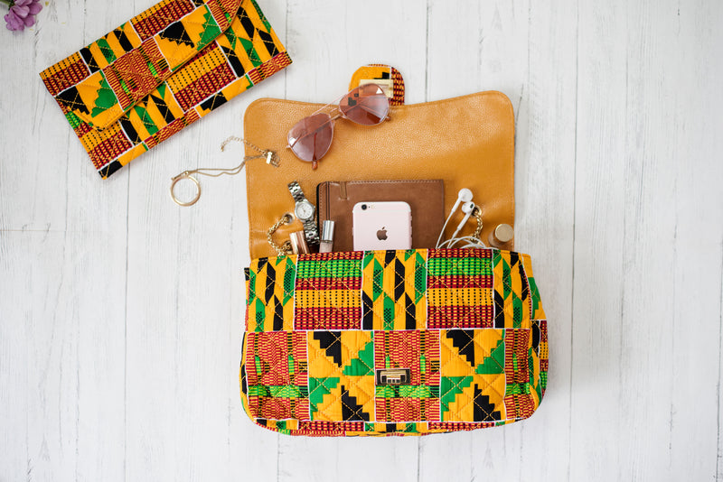 Kente Handbag Orange Green Quilted Twist Lock African Print Shoulder bag KENYA