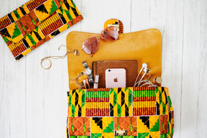 African Print Ankara Block Heel Sandal and Handbag Set - KENYA