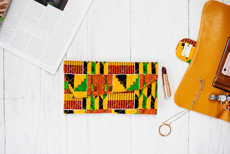 Ladies African Print Purse Kente Quilted Purse Clutch Orange Green - KENYA