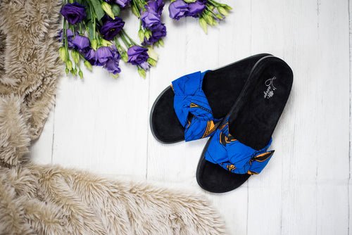 Women's African Print Slides Ankara Slippers Beautiful African Fabric Flat Sandal - ELLA