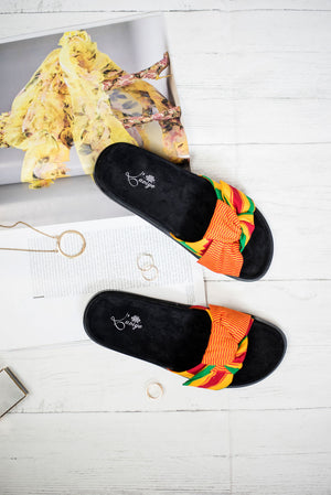 African Print Slides Multi-coloured Kente Flat Slippers African Wax Slider Slip-on - LOLITA