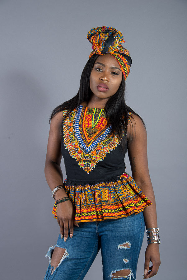Marcia dashiki peplum top