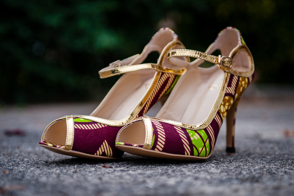 (Pre-Order, Ships in 3-4 Weeks) African Print Open Toe Sandals with Gold Trim - Julia