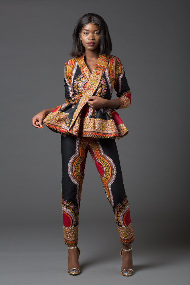 (Pre-Order, Ships in 3-4 Weeks) African Print Black Dashiki Women's Wrap Top and Pant Set - Mariella