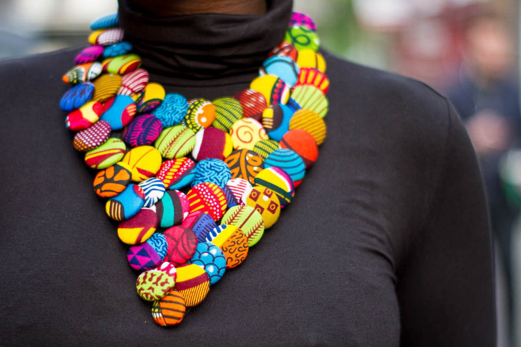 African Goddess Button Necklace