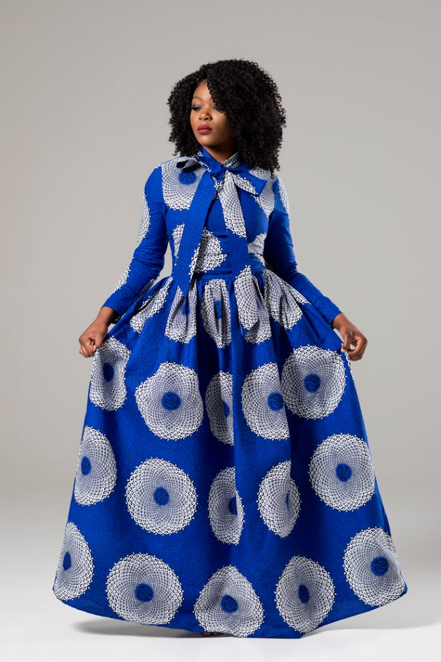 African Wax Blue Pussy-bow Maxi Dress - Juliana