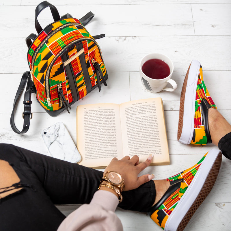 African Print Women Sneakers Shoes and Stylish African Kente Backpack Set - KENYA