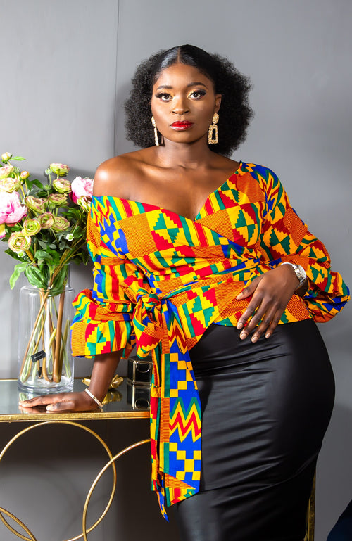 Kente African Print Ruffle Tiered Sleeve Wrap Top - Lola