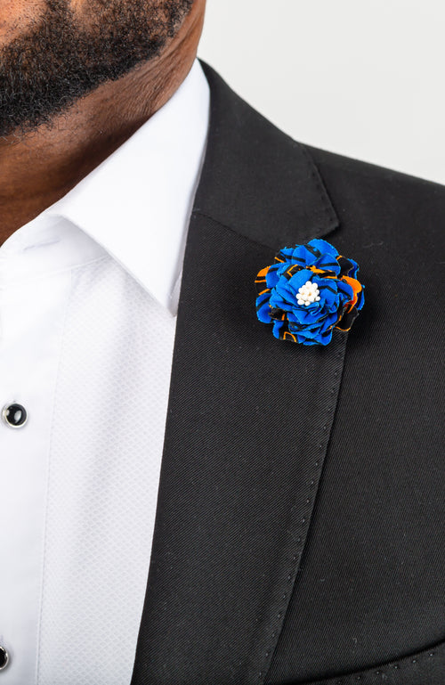 Kente African Print Lapel Flower Pin, African Fabric Wedding Brooch - ELIJAH