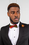 Handmade African Wax Necktie and Bow Tie Set - Wedding Tie Set 5 Pieces - ERICK