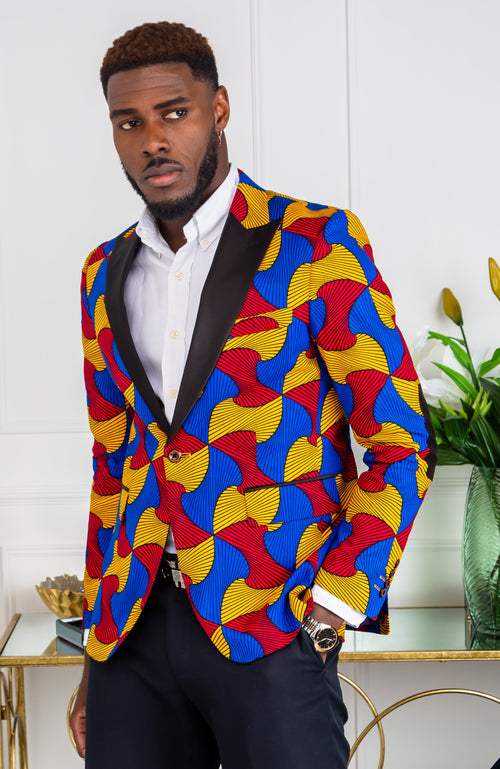 African Print Blazer Jacket for Men - Modern Fit Shawl Lapel Tuxedo - LIAM