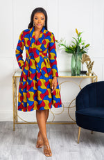 African Print Wrap Fit & Flare Midi Dress - LYDIA
