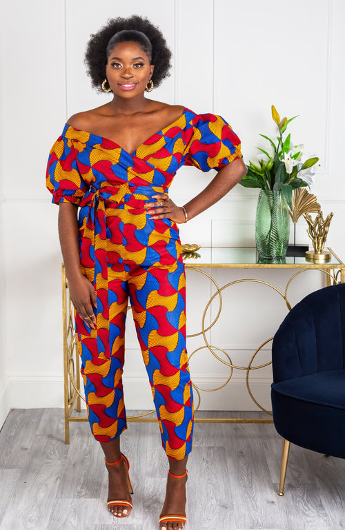 African Print Jumpsuit - Off Shoulder Bardot Sleeve Playsuit - LYDIA