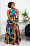 African Sleeveless Long Dress - Turtleneck Dashiki Maxi Dress - PETRA