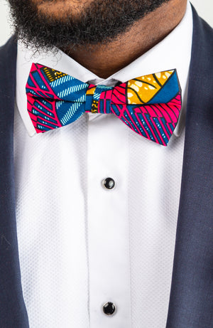 African Men Clothing Accessories  Bowtie for Men - Ankara Groomsmen Bowtie Set 4 Pieces - JAMES