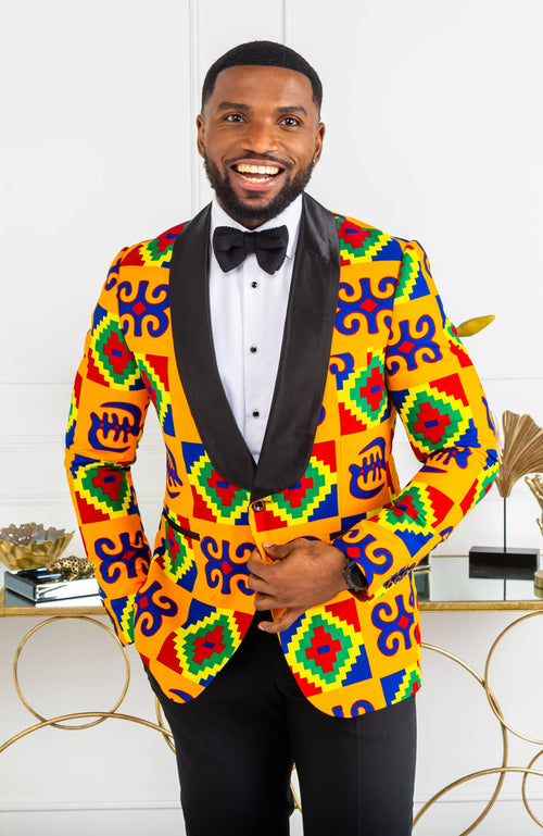 African Print Mens Ankara Suit Blazer - Dinner Jacket Tailored Fit African Fashion - NATHAN