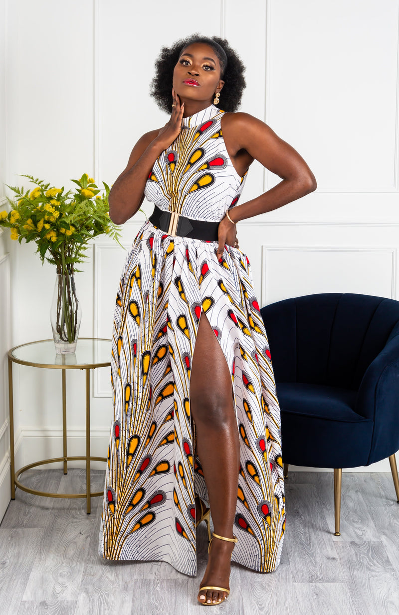 African Clothing for Women - African Wax Print Sleeveless Turtleneck  Maxi Dress - PAMELA
