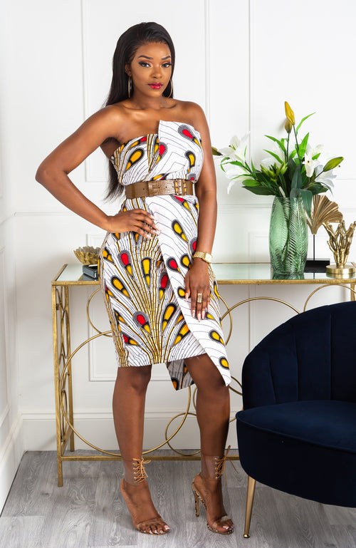 Ankara African Print Asymmetric Tube Fold Over Strapless Midi Dress - Pamela