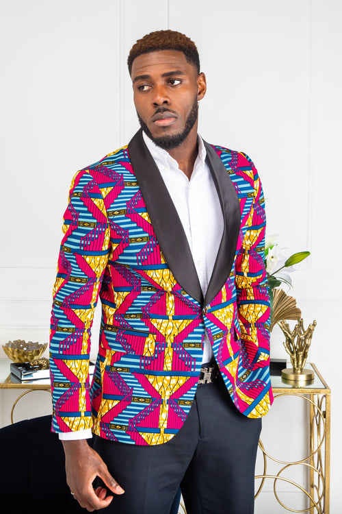 African Dashiki Suit for Men - Tailored Fit Shawl Collar African Men Blazer - JAMES