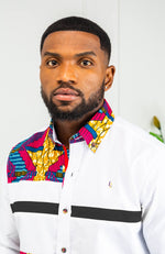 Mens Ankara Shirt | Mens African Clothing - Skinny Fit Button Down Strip Shirt - JAMES