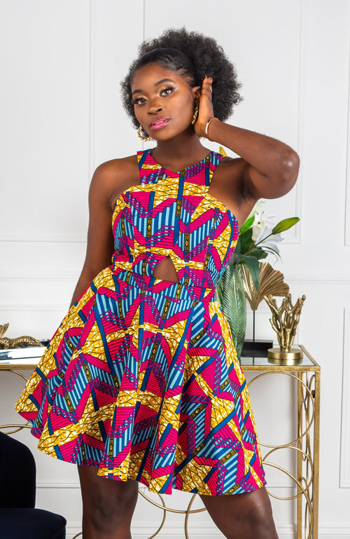 African clothing African party wear African jumpsuit with two sides pocket ankara print