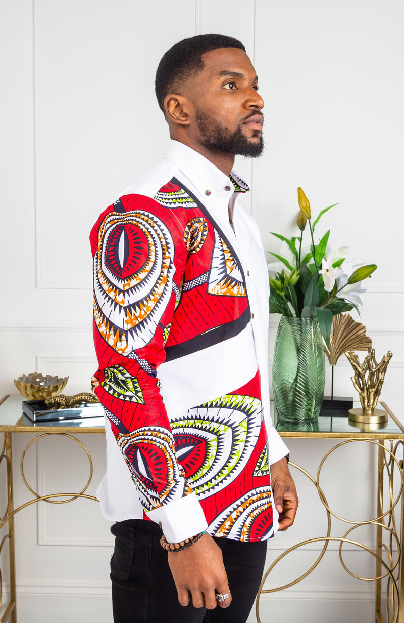 African Shirts for Men | Mens African Shirt - Skinny Fit White Button Down Asymmetrical Shirt - AARON