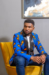 African Print Mens Dashiki Blazer - Modern Fit Shawl Collar Men's African Print Tuxedo for Guys - ELIJAH