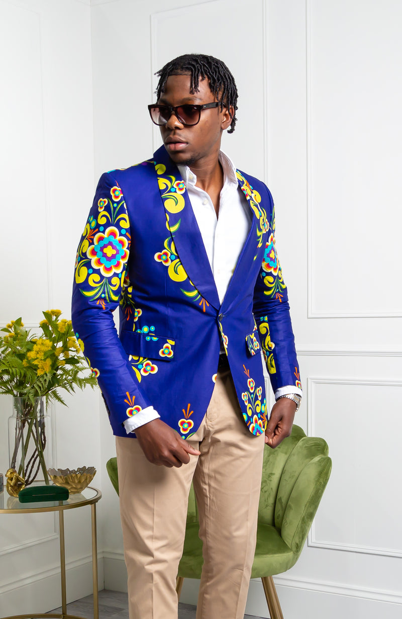 African Print Suit Jacket for Men - Tailored Fit Shawl Collar African Men Blazer - FRANCIS