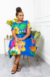 African Print Short Sleeved Fit and Flare Midi Dress - ARIA