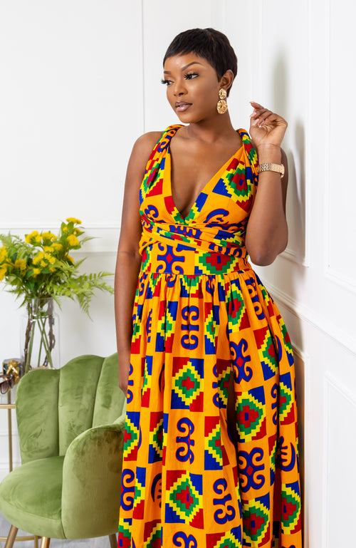 African Print Infinity Multiway Maxi Dress - NATALIA