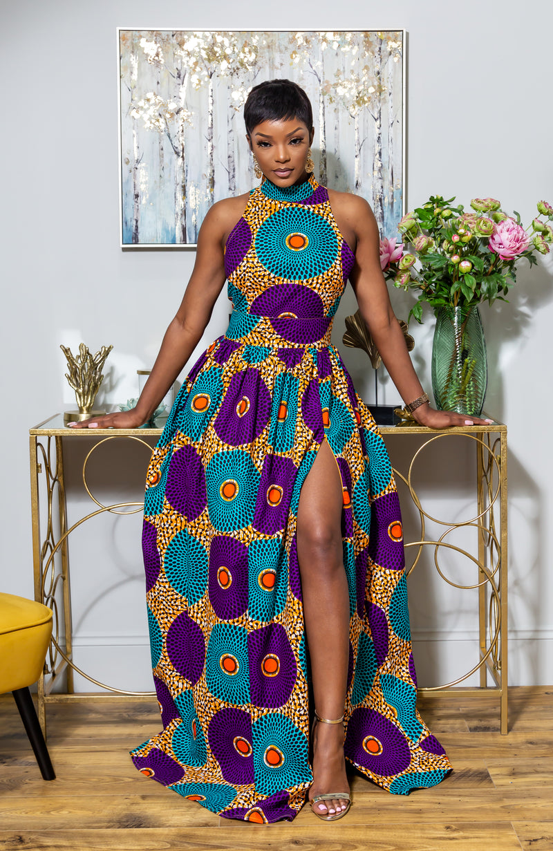 African Sleeveless Long Dress - African Print Turtleneck Dashiki Maxi Dress - PETRA