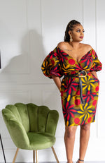 Ankara African Print Bardot Power Shoulder Midi dress - LARA