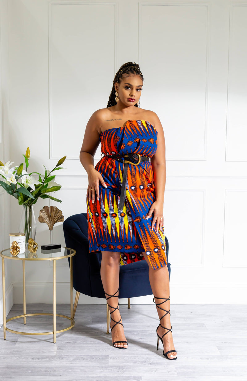 Ankara African Print Asymmetric Tube Fold Over Strapless Red Midi Dress - Jerica