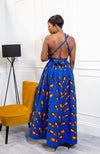African Print Blue Infinity Multiway Maxi Dress - ELLA